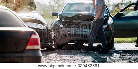 Accident Of Two Cars On The Road