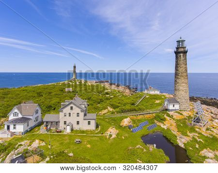 Aerial View Of Thacher Island Lighthouses On Thacher Island, Rockport, Cape Ann, Massachusetts, Usa.