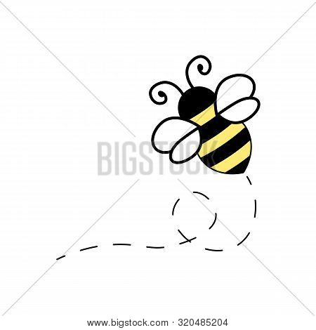 Flying Bee Illustration Black And Yellow Bumblebee With White Wings Cartoon Isolated Vector Icon