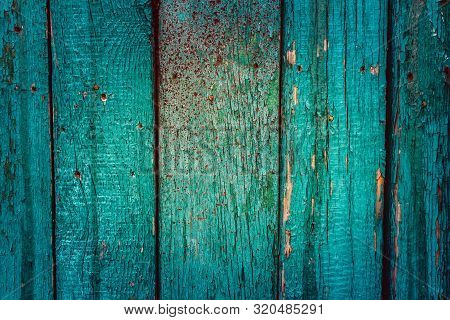 Wood Fence Turquoise Color. Abstract Background Texture Retro Vintage Style