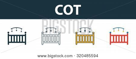 Cot Icon Set. Four Elements In Diferent Styles From Baby Things Icons Collection. Creative Cot Icons