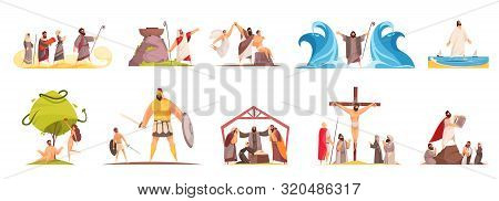 Bible Narratives Set Of Isolated Doodle Compositions With Legendary Characters And Iconographic Scen