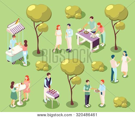 Catering And Banquets In Park Isometric Composition With Food And Drinks Isolated Vector Illustratio