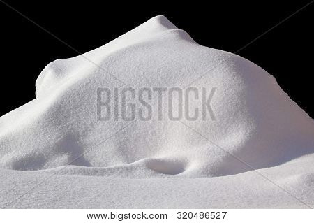 Huge Of Snow Isolated On Black Background