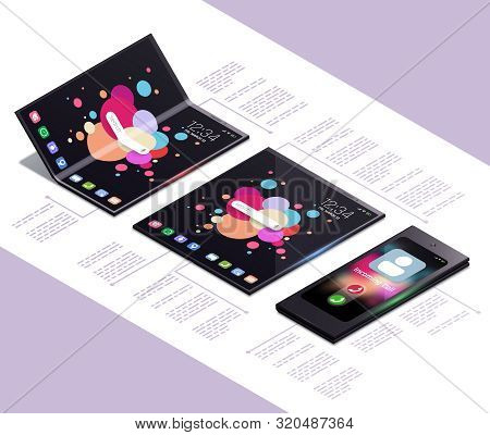 Foldable Gadgets Concept Isometric Mockup Composition With Next Generation Electronic Touch Screen S