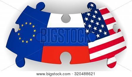 Cooperation Of Russia, Eu And Usa. Puzzles With Flags Of Russia, European Union And United States Of