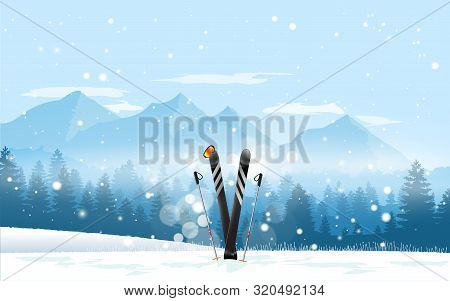 Winter Sport Tourism. Pair Of Cross Skis In Snow. Ski Winter Mountain Landscape Background. Vector I