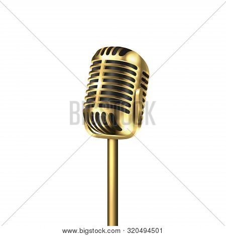 Vector 3d Realistic Steel Golden Retro Concert Vocal Microphone Icon Closeup Isolated On White Backg