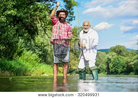 Spinners And Tackle. Nice Catch. Bait And Hook. Fellow Fishermen. Good Catch. Bearded Men Fishing. F