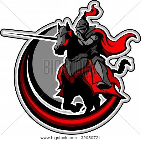 Jousting Knight Mascot On Horse