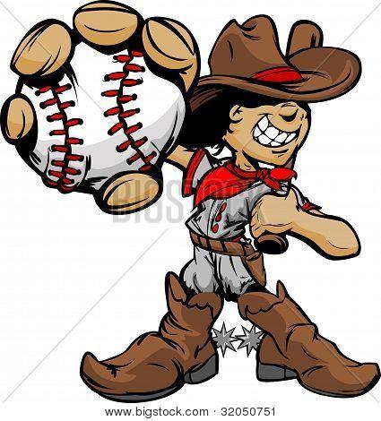 Jogador de beisebol do garoto Cowboy Cartoon segurando bola