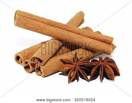 Cinamon And Star Anise Isolated On White