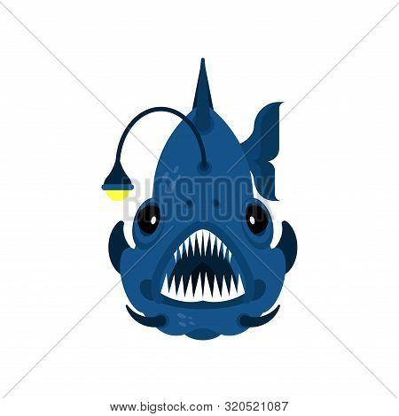 Deep Sea Fish. Angler Isolated. Vector Illustration