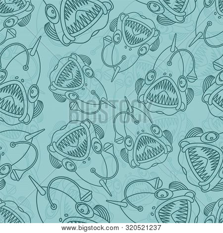 Deep Sea Fish Pattern Seamless. Angler Background. Vector Texture