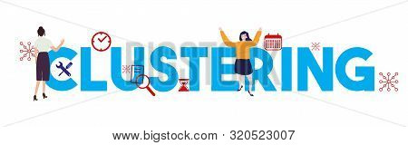Clustering Statistics Diagram Vector Icon, Illustration On Large Text Woman Working On Cluster