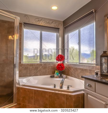 Square Beautiful Bathroom Interior Of A Home With Bathtub Vanity Area And Shower Stall