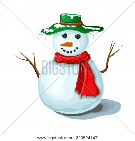 Vector Christmas Snowman Illustration Isolated On White Background. Cute Smiling Snowman Wearing Red