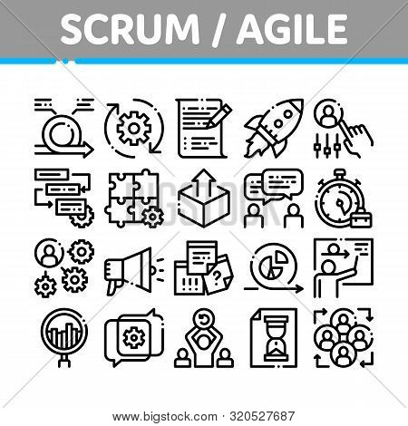 Scrum Agile Collection Elements Vector Icons Set Thin Line. Agile Rocket And Document File, Gear And