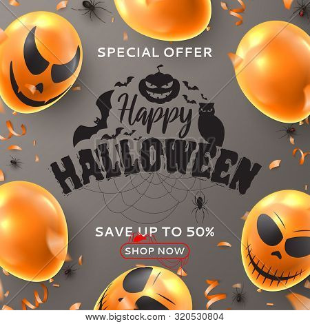 Happy Halloween Sale Background. Vector Illustration Realistic Orange Air Balloons With Scary Smiles