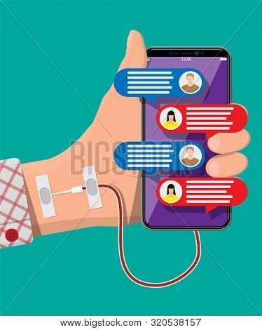 Mans Hand Connected With Needle To Mobile Smart Phone. Addiction From Gadget With Social Media. Addi