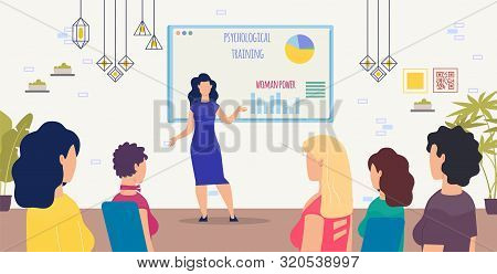 Psychological Training For Women Trendy Flat Vector Concept With Female Trainer, Psychology Expert,