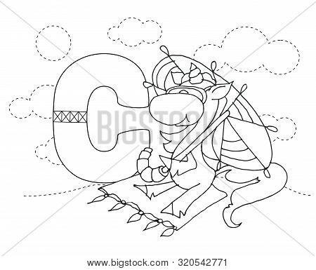 Letter C And Funny Cartoon Unicorn. Animals Alphabet A-z. Coloring Page. Printable Worksheet. Handwr