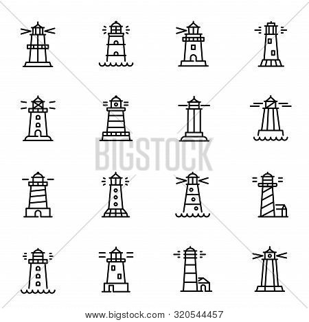 Lighthouses, Navigational Aid Towers Vector Linear Icons Set