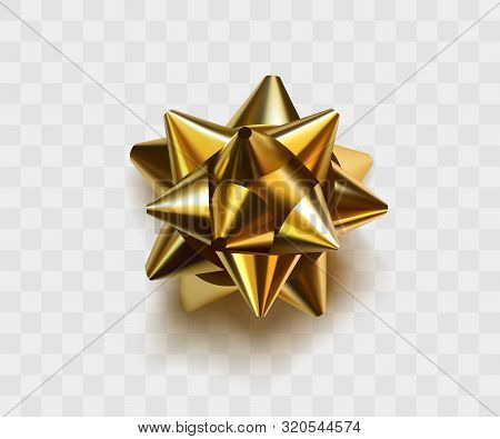 Gold Bow Ribbon Vector Realistic Decor Element. Shiny Golden Paper Decoration Gift Present, Holiday