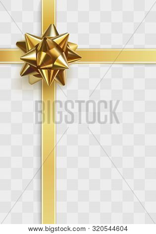 Glowing Gold Bow With Crossing Gold Ribbons For Packing Gifts, Isolated On Transparent Background. R