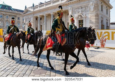 Hungarian Hussars Patrol In The Royal Palace, Budapest, Hungary, August 30, 2019.