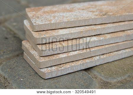 Closeup Of Clinker Tile, Complicated Clinker Bricks Closeup On Pavers