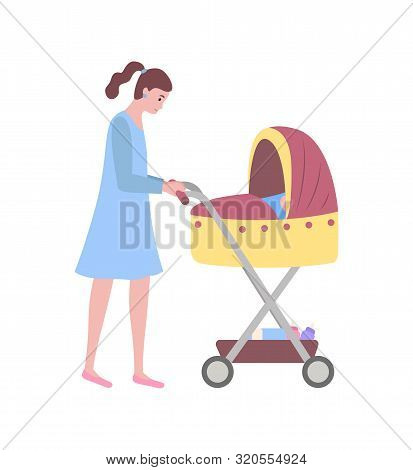 Mother And Kid Vector, Isolated Woman Walking With Perambulator And Child Sleeping In Pram Flat Styl