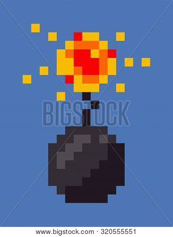 Explosion of bomb vector, isolated military weapon icon in flat style, pixel art game weaponry design of 8bit, pixelated dangerous object designed in retro poster