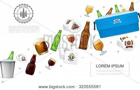 Realistic Brewery Colorful Template With Beer Bottles Glasses Box And Bucket With Ice And Alcohol Dr