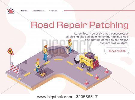 Road Repair, Excavator Cover Hole In Ground With Concrete, Worker Patching Fresh Asphalt, Bagger Exc