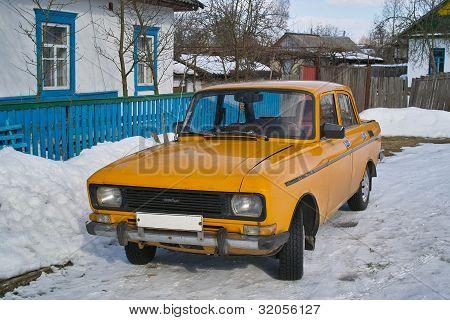 Old Soviet Car In Village