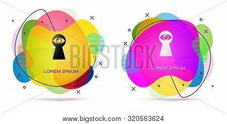 Color Keyhole With Eye Icon Isolated On White Background. The Eye Looks Into The Keyhole. Keyhole Ey