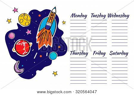 School Timetable Space Graphic. Doodle Rocket And Planets. Vector Illustration.