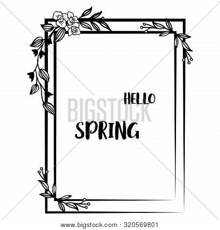 Hello Spring With Modern Decorative Element Of Leaf Floral Frame. Vector