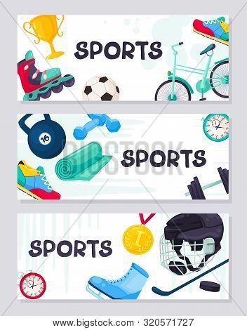 Sport Background Vector Poster. Fitness Icons Banner. Sport Equipment Cartoon Flayer Design.