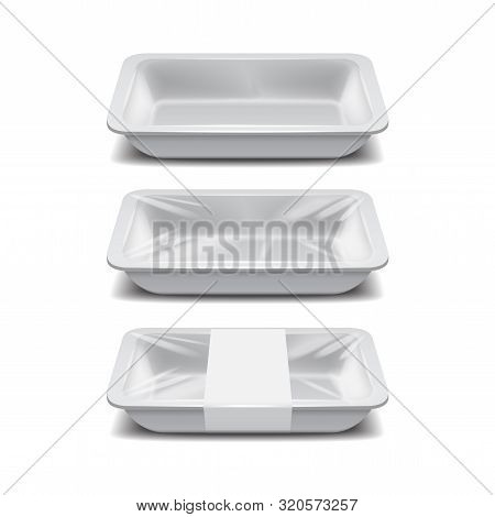 Empty Styrofoam Food Storage. White Food Plastic Tray, Set Of Foam Meal Containers With White Label