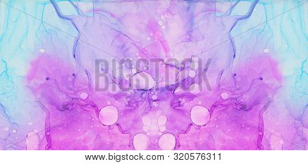 Ethereal Light Blue, Pink And Purple Alcohol Ink Abstract Background. Flow Liquid Bright Watercolor