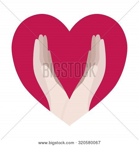 Humanitarian Aid Concept. Hands And Heart Icon. Volunteering, Charity, Donation, Love