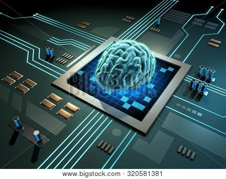 Digital brain on a printed circuits board. 3D illustration.