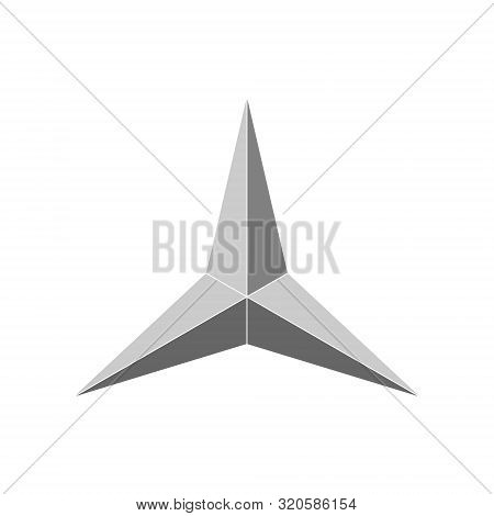 3d 3 Point Beveled Star. Vector Illustration . Template For Your Design