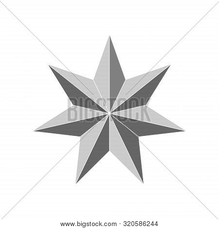 3d 7 Point Beveled Star. Vector Illustration . Template For Your Design