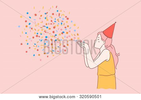 Happy Birthday Kids Concept. Happy Girl With A Cone On Her Head Celebrates Birthday And Blows Up Mul
