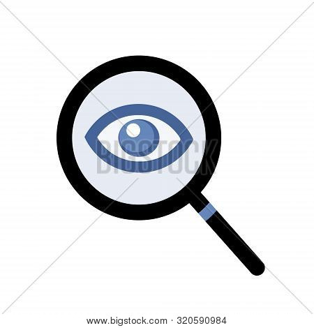 Magnifying Glass And Eye Vector. Simple Icon Symbol For Spying / Watching.