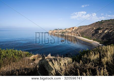 Scenic coast view of Pelican Cove and Point Vicente in Rancho Palos Verdes Estates near Los Angeles California.