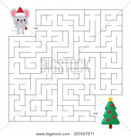 Labyrinth For Kids. Help The Mouse Find Right Way To The Christmas Tree. Kawaii Cartoon Character. C